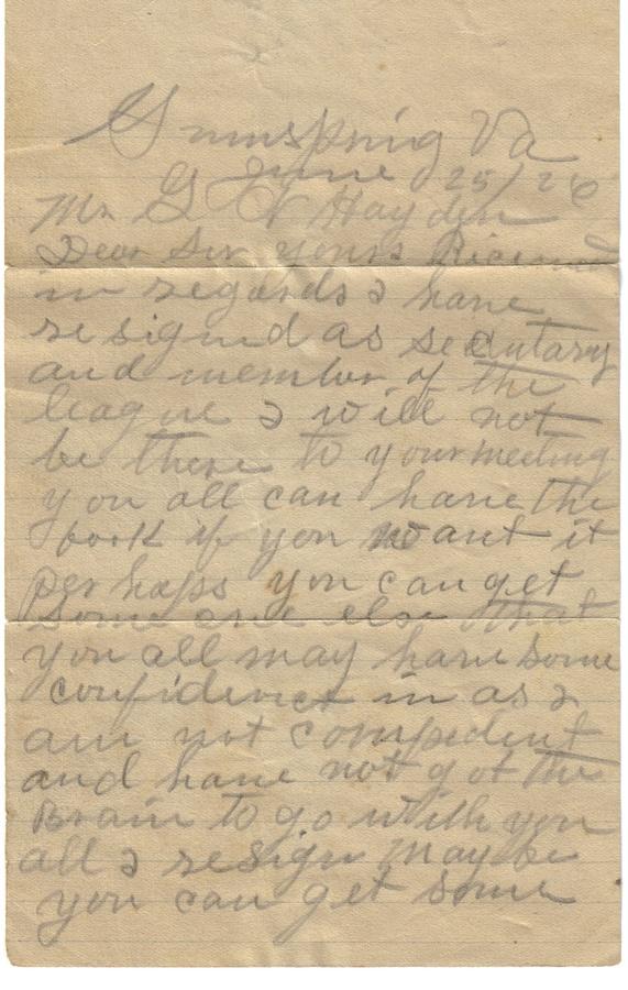 19260625 Letter Front - League Member Resign.jpg