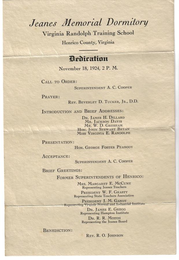 19251105  Program - VA Randolph Training School Dedication.jpg