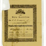 Virginia State Agricultural Society certificate